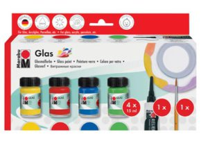 MARABU GLASS SET 4X15ML & BLK LINER