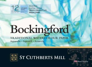 Bockingford is a beautiful English watercolour paper traditionally made on a cylinder mould machine at St Cuthberts Mill. This is a high quality paper made using pure materials to archival standards. Its attractive surface is created using natural woollen felts that give it a distinctive random texture. Appreciated for its excellent colour lifting abilities. This is an extremely forgiving watercolour paper valued by professional and amateur artists around the world.